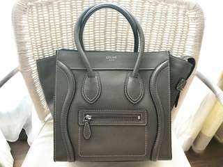 Celine Micro Luggage in Souris (Khaki)