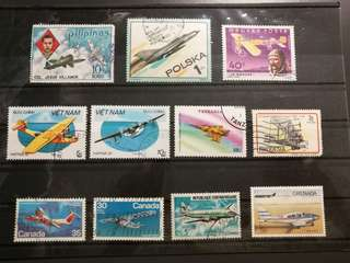 Assorted stamps with Airplanes