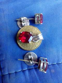 Set of Authentic 92.5 silver with genuine ruby stone(pasadya po)