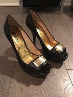 Michael Kors black peep toe heels 6