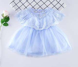 【BABYWEAR】【CLOTHING】【GIRL】PCD00025 BABY GIRL BLUE LACE DRESS