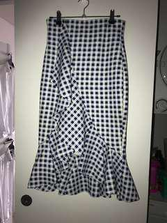 Blue and white check skirt