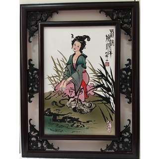 Four ancient Chinese beauty porcelain caving paintings