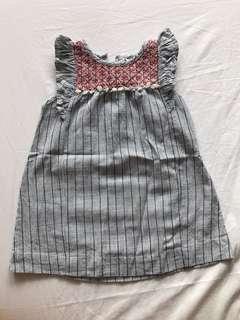 Dress stripes blue white bohemian details