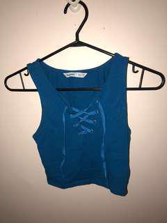 Blue Crop Top // Size XS