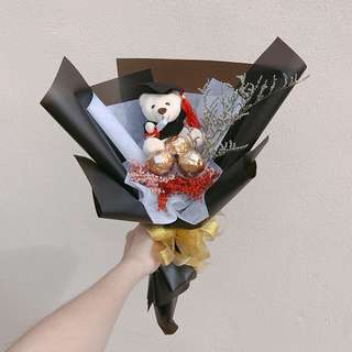 Baby Breath Chocolate Convo Bear Bouquet