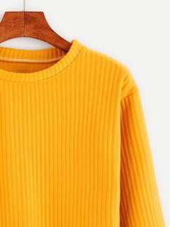 Yellow ribbed long sleeve top
