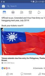 OFFICIAL: TAIWAN VISA FREE EXTENSION