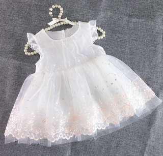 【BABYWEAR】【CLOTHING】【GIRL】PCD00024 BABY GIRL PRINCESS WHITE LACE DRESS