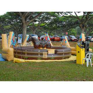 USED - Amusement Inflatable Rodeo Ride Challenge w/ controller (Bull/Horse/Surfboard) 1 Faulty motor