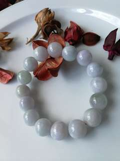 $58 Fixed Sales 13mm Lavender Green Type A Natural Jadeite Jade Beaded Bracelet