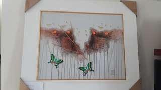 Lukisan mix media kupu kupu