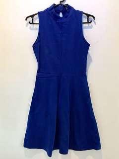 F21 blue halter dress