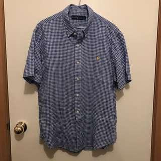 New Mens Large Blue Ralph Lauren Short Sleeve Shirt