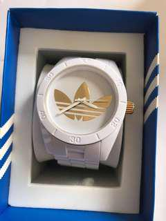 Adidas white and gold watch