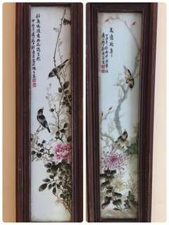 精緻仿舊工瓷板畫2幅:如此相片及個別Listing 的相片所示