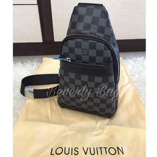jual tas LV sling Cross Body MIRROR QUALITY - damier black