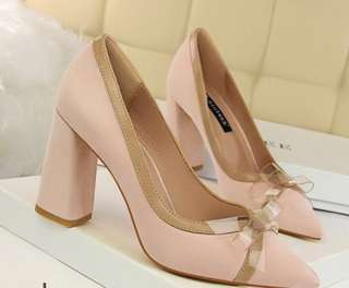 Transparent Bow Pointed Shoes  SIZE 6/7/8/9