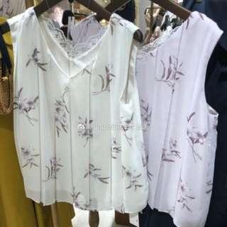 3色補貨2018年夏季noela雙面著lace領背心