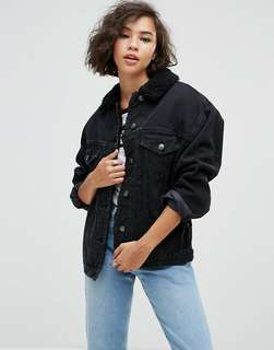 🚚 asos denim jacket w/ fur collar // 毛領牛仔外套