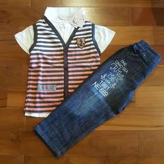 Boyset stripe gradasi set jeans