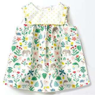 【BABYWEAR】【CLOTHING】【GIRL】PCD00020 BABY GIRL GREEN YELLOW ELEPHANT DRESS
