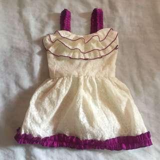 White Purple with Ribbon Cute Dress