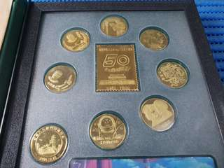 1999 China 50th Anniversary Commemorative Gold Plated Medallions and Stamp Ingot 1949 - 1999.