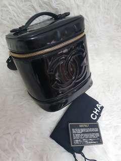Authentic chanel vanity case black patent