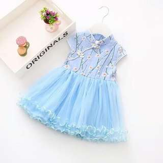 Elegant Flower Print Cap sleeve Cheongsam Tulle Princess Dress for Baby Girl.