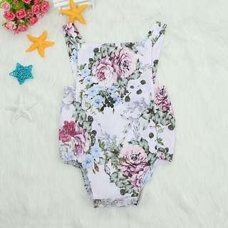 Pretty Floral Backless Romper for Baby Girl