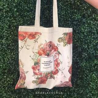 Floral printed canvas bag by Carla Chua