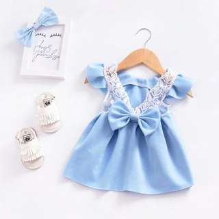 Beautiful Bow Decor  Flutter sleeve Dress for Toddler Girl.