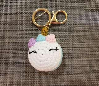 Unicorn crochet keychain