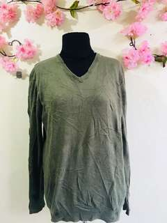 Plus Size Army Green Pullover