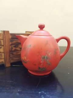 Old Chinese red lacquer teapot