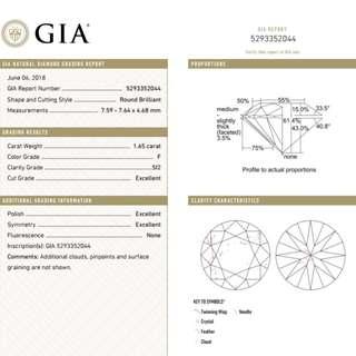 GIA 鑽石 1.65 F SI2 3EX N
