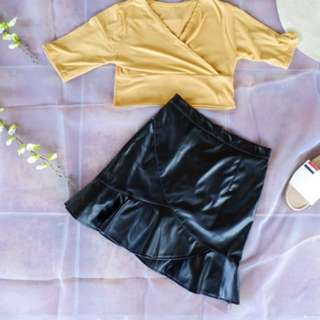 Top and leather skirt bundle