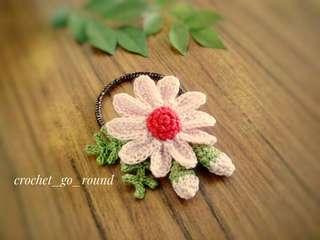 Handmade Daisy Hair Tie-Baby Pink