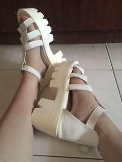 White high platform shoe