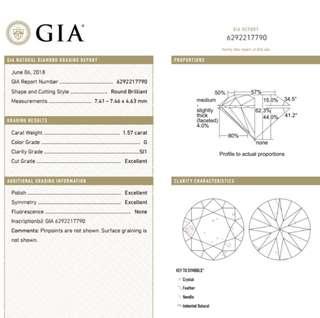 GIA 鑽石 1.57 G SI1 3EX N