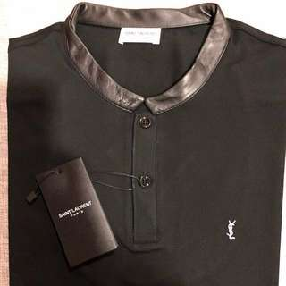Saint Laurent SL Leather Collar Polo