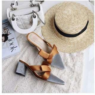 🚚 橘黃蝴蝶結灰絨面中跟尖頭穆勒鞋