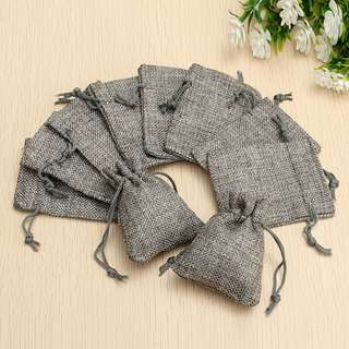 🚚 10PCs Grey Burlap Bags Drawstring Sack Perfect For Gifts Favor Bag