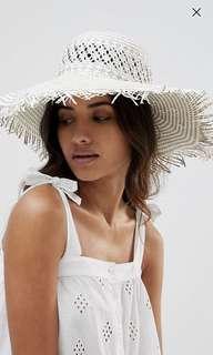 South Beach Woven Straw Hat w Frayed Edge