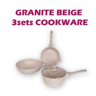 Panci Wajan Penggorengan Super Pan Beige Cookware 3pcs Bahan Anti Lengket