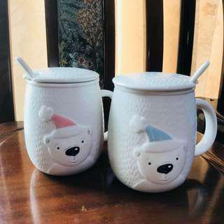 北極熊陶瓷馬克杯套組 帶蓋杯碗套組