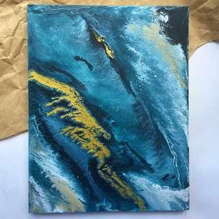 Acrylic Fluid Painting on Wood