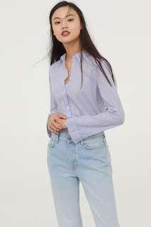 全新轉售 H&M 藍白直條棉麻襯衫
