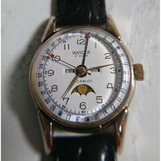 40's Invicta Triple Calender Moon Phase watch (40年代 Invicta 三曆月相上鍊錶) - 男女合帶